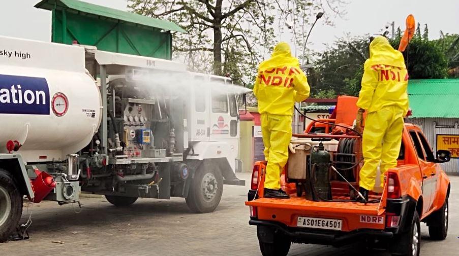 NDRF conducts sanitization drive in Guwahati.