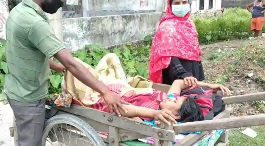 Pregnant woman taken to hospital on a handcart in Assam