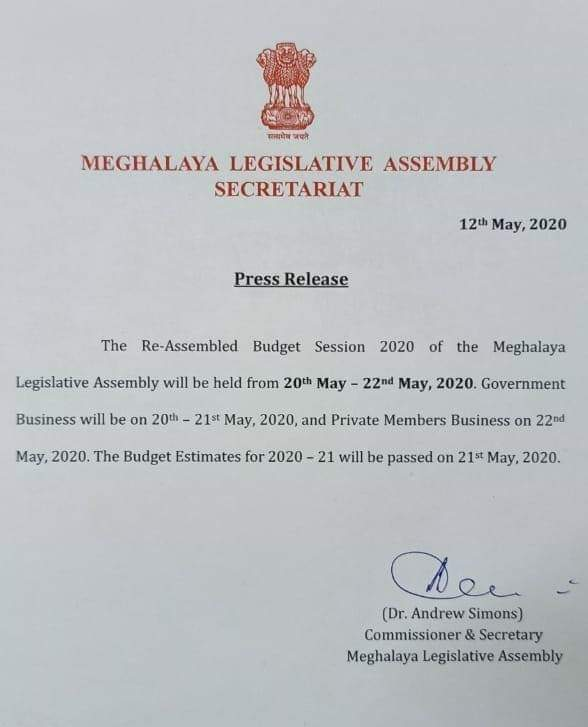 the budget estimates for 2020-21 will be passed on May 21.