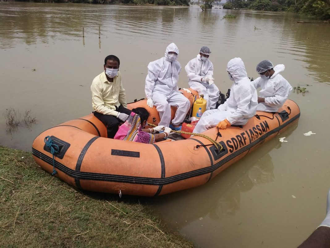 Flood-affected area in Assam