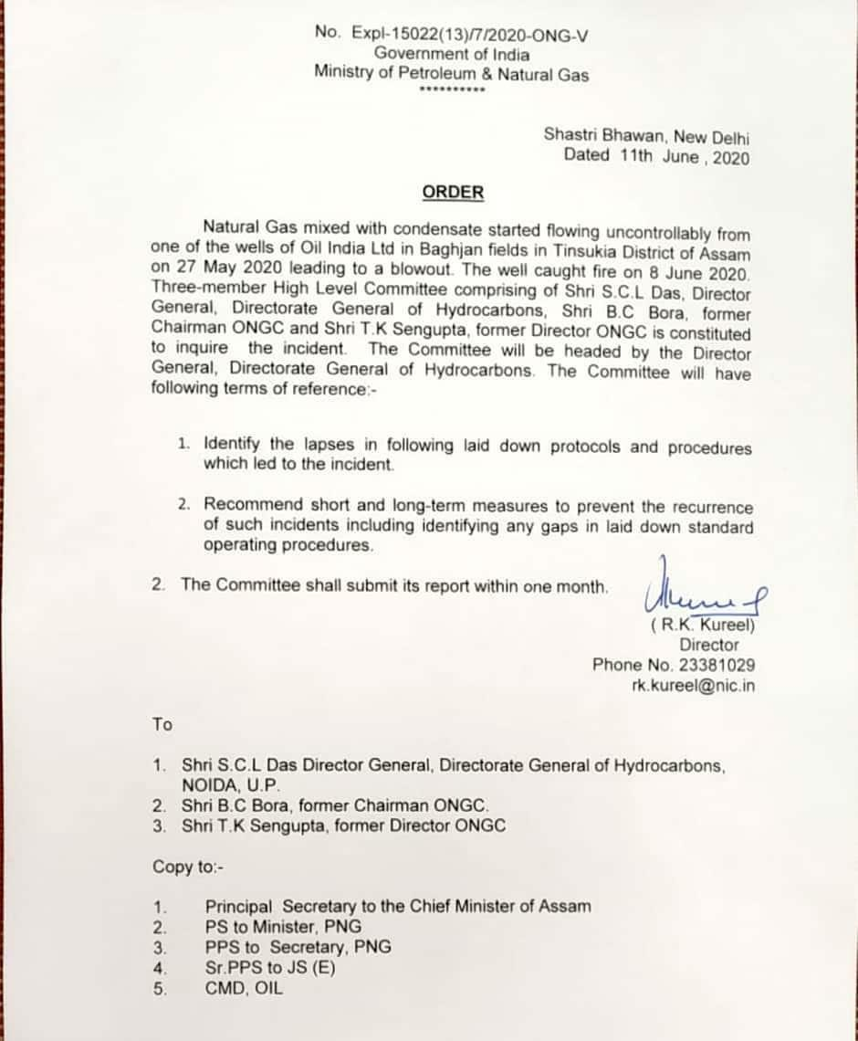 Assam petroleum Ministry inquire Baghjan gas well fire