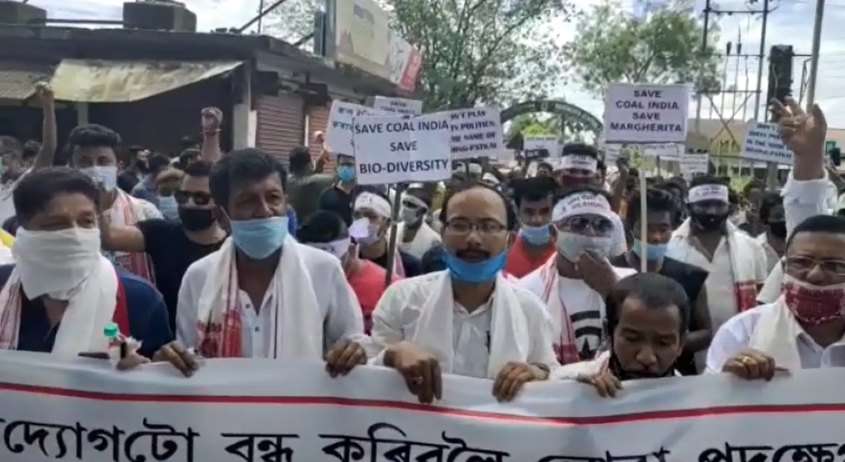People in Assam protest against coal mining