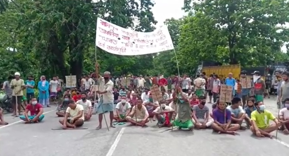 Assam farmers stage protest and block roads