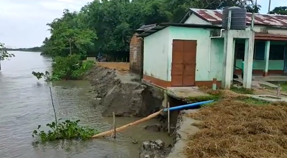 River erosion due to soil erosion and flood becomes more dangerous in Assam