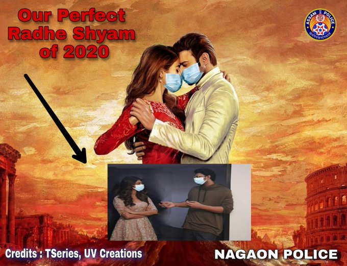 Assam police adds face mask to Prabhas and Pooja Hegde