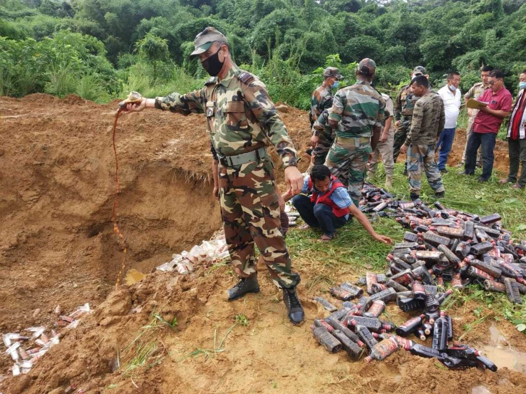 Assam Rifles destroyed a huge quantity of illegal liquor in Nagaland