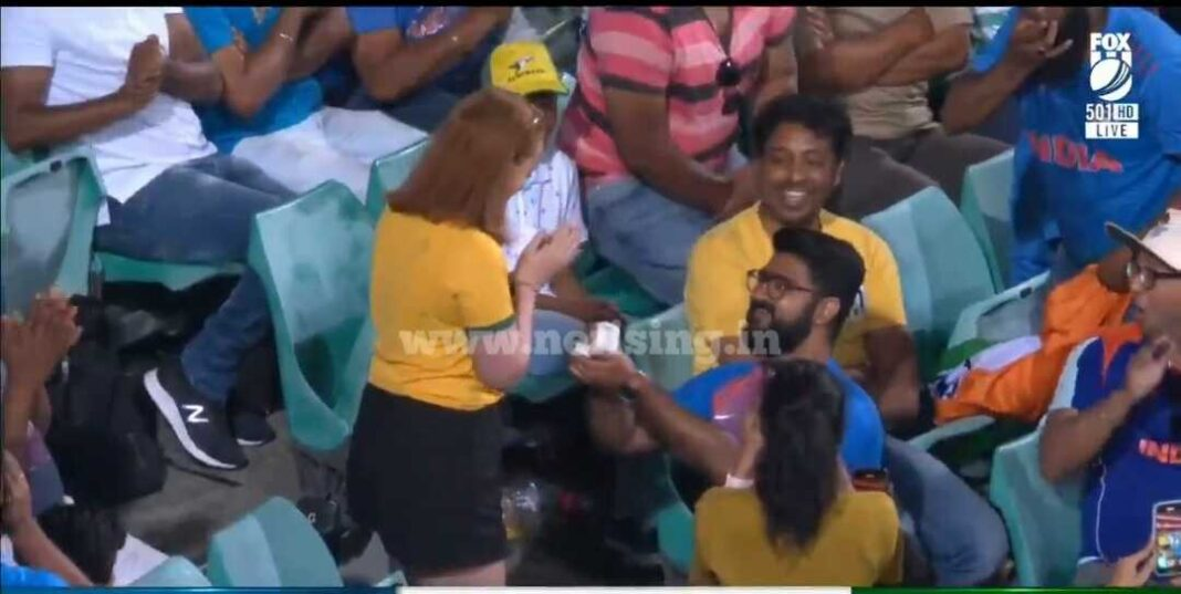 Indian cricket fan proposes to his Australian girlfriend during India vs Aus match