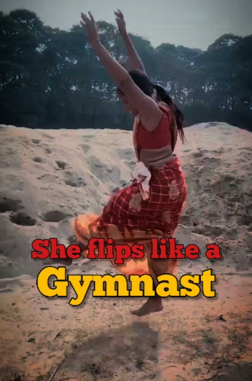 Indian lady showcase her gymnastic skills in saree