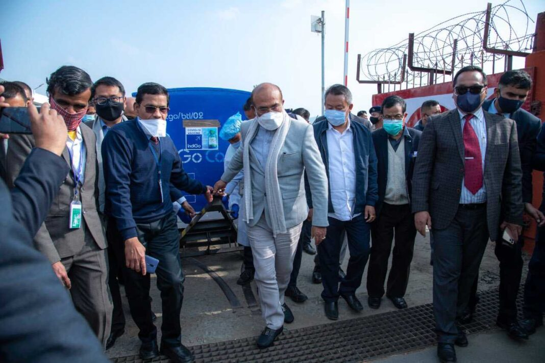 Manipur CM receives 58,000 doses of COVID-19 vaccine at airport