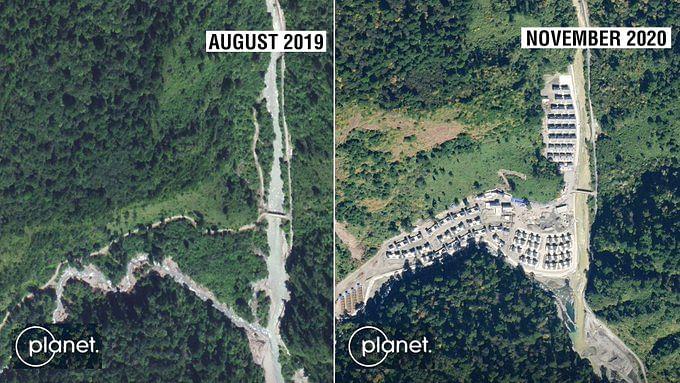 Chinese village seen at the disputed region of Arunachal Pradesh in Satellite image