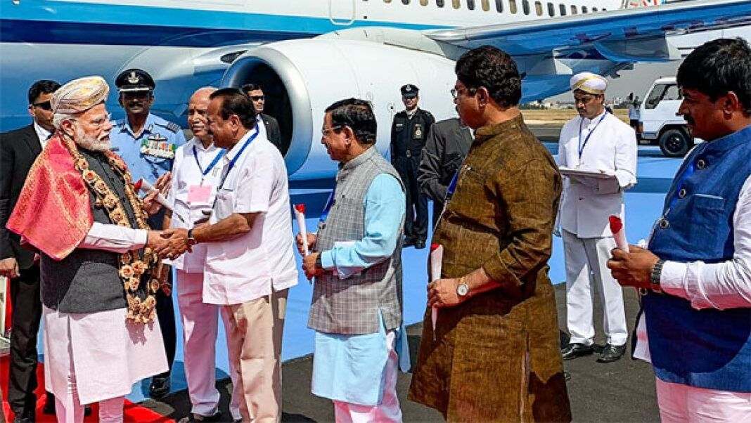 Ahead of assembly elections, PM Modi landed in Kolkata