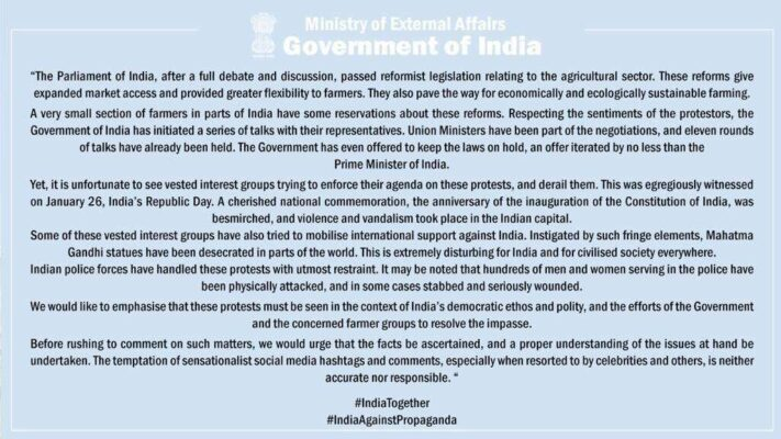 """India reacts to """"international comments"""" on farmers protests"""