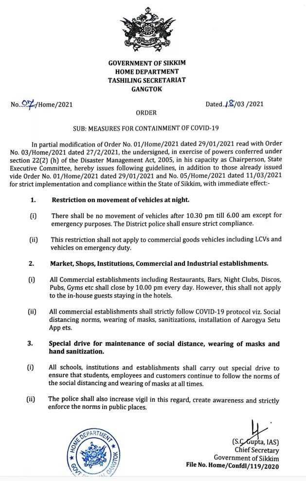Sikkim govt issues new Covid-19 rules, night curfew